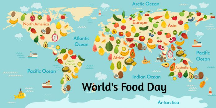 world food day world map of fruits picture
