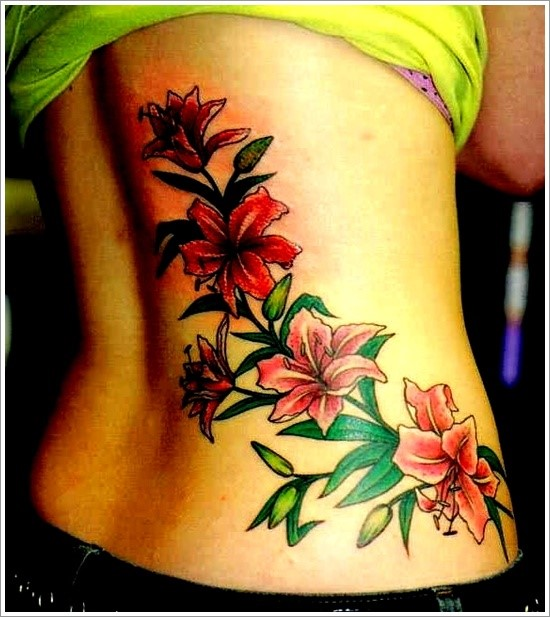 Beautiful Orchid Flower Tattoo On Back