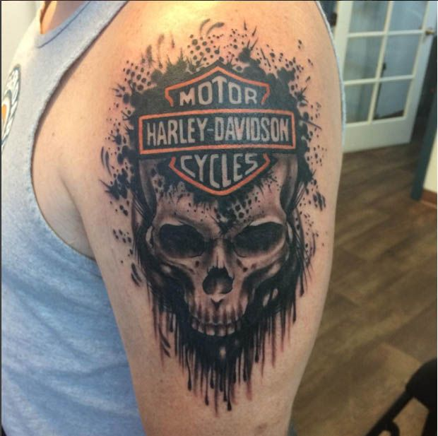 harley davidson skull tattoo on bicep. Black Bedroom Furniture Sets. Home Design Ideas