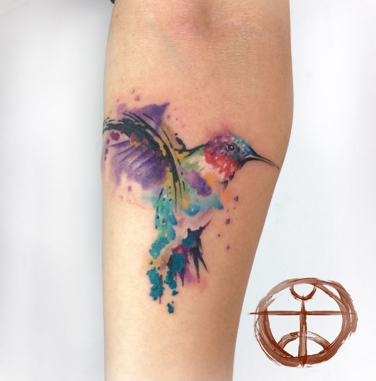 watercolor Hummingbird Tattoo On Forearm