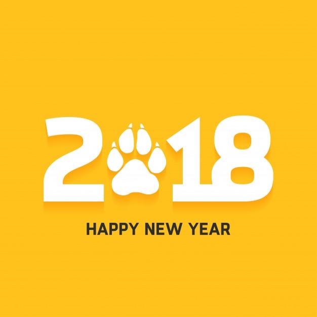 2018 happy new year dog paw print card