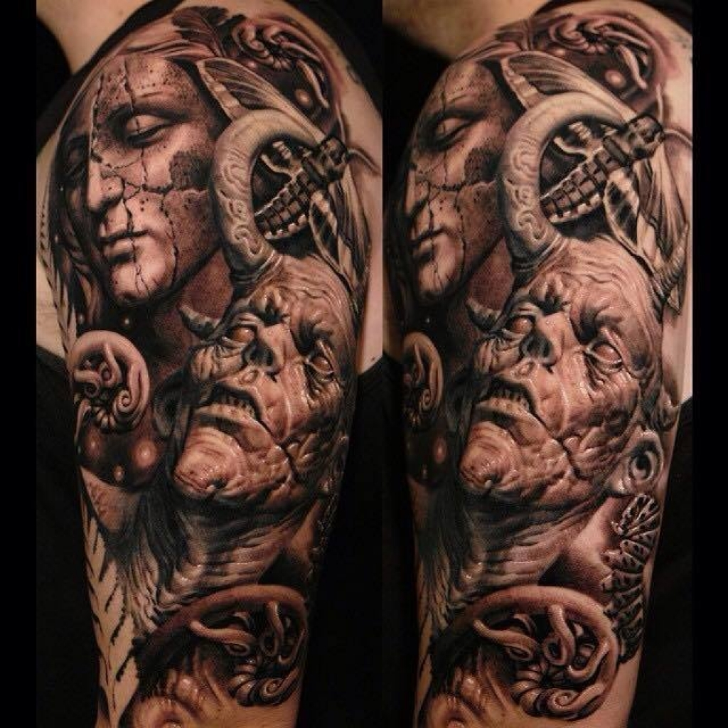 Realistic angel demon tattoo sergio sanchez sick tattoos for Demon half sleeve tattoos