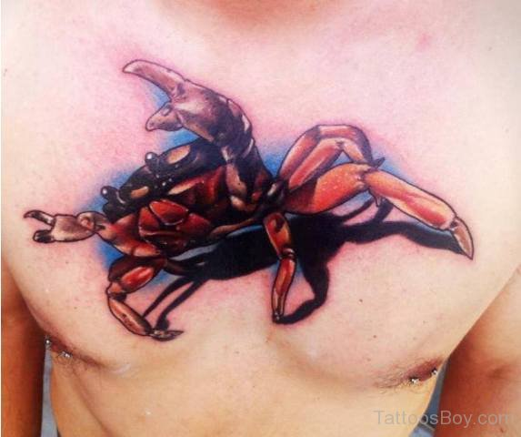 3d cancer Crab Tattoo on chest