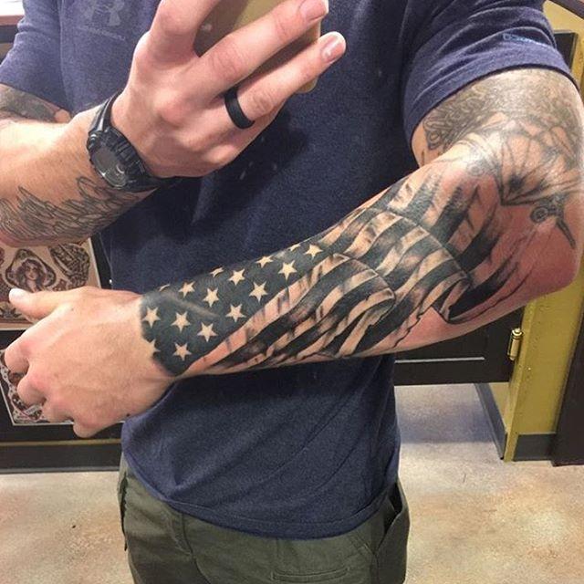 american flag tattoo on full sleeve. Black Bedroom Furniture Sets. Home Design Ideas