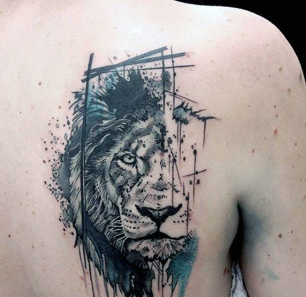 5d7dc3f765ea6 Abstract Watercolor Half face Lion Tattoo On Upper Back