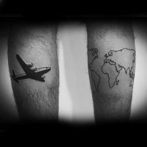 Airplane with outline of world map travel tattoos on both legs gumiabroncs Gallery