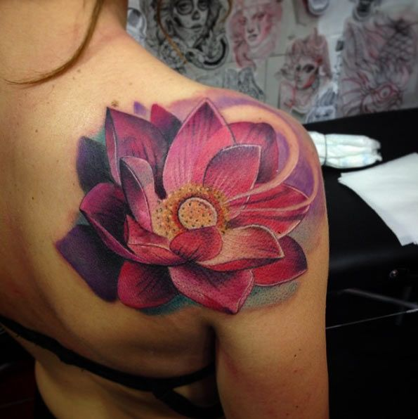amazing 3d pink lotus tattoo on shoulder. Black Bedroom Furniture Sets. Home Design Ideas