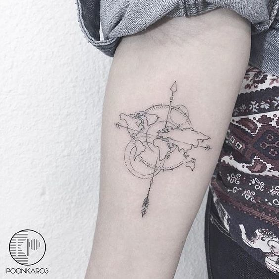 101 best travel tattoo designs and ideas amazing composition of black outline world map compass travel tattoo on forearm gumiabroncs Choice Image