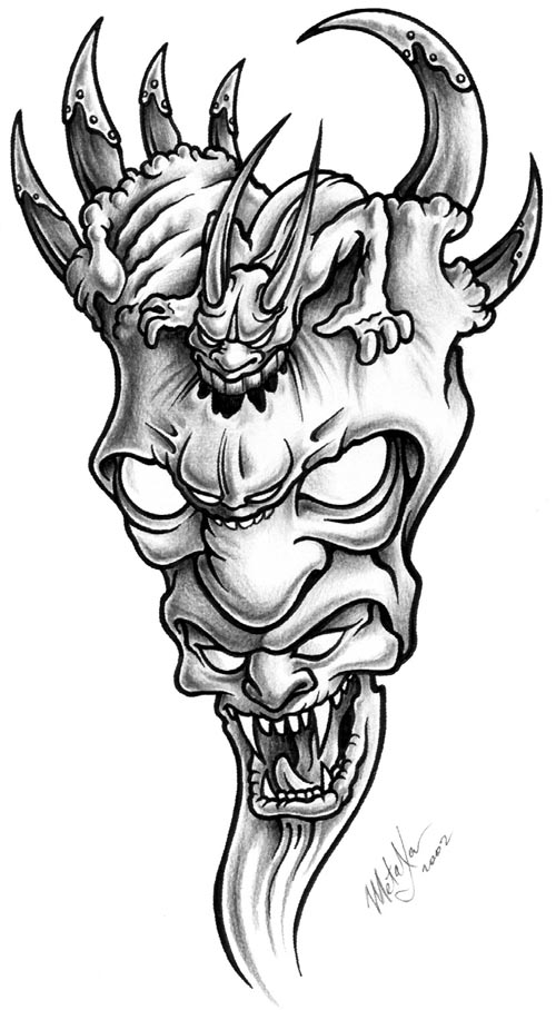 6412c23c1af01 Amazing Demon In Demon With Horns Tattoo Design