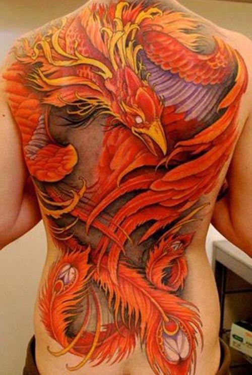 Amazing Phoenix Tattoo On Back