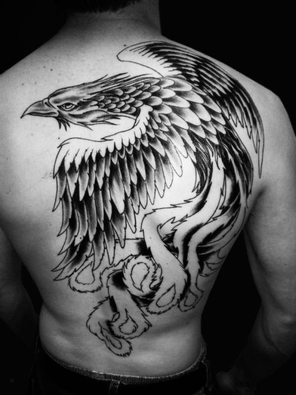 Amazing Phoenix Tattoo On Full Back