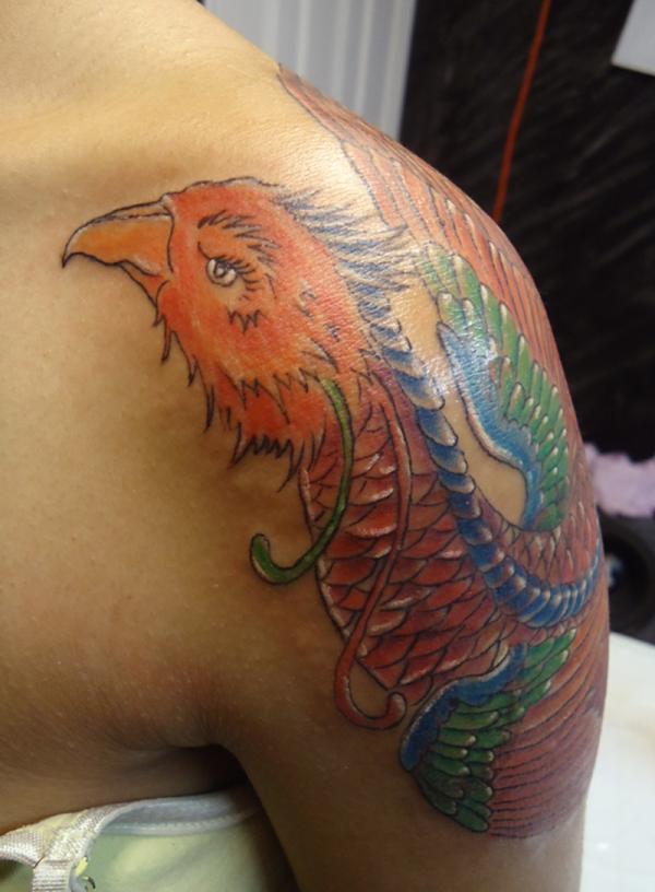 Amazing Phoenix Tattoo On Shoulder