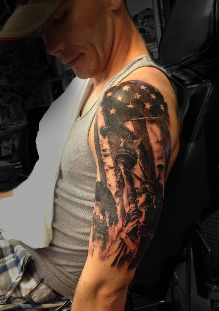 American Flag Statue Of Liberty Tattoo On Half Sleeve
