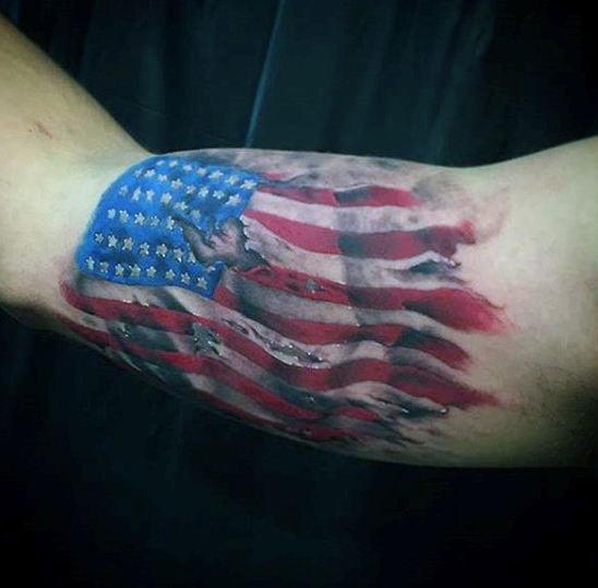 American Flag Tattoo Wavy Design