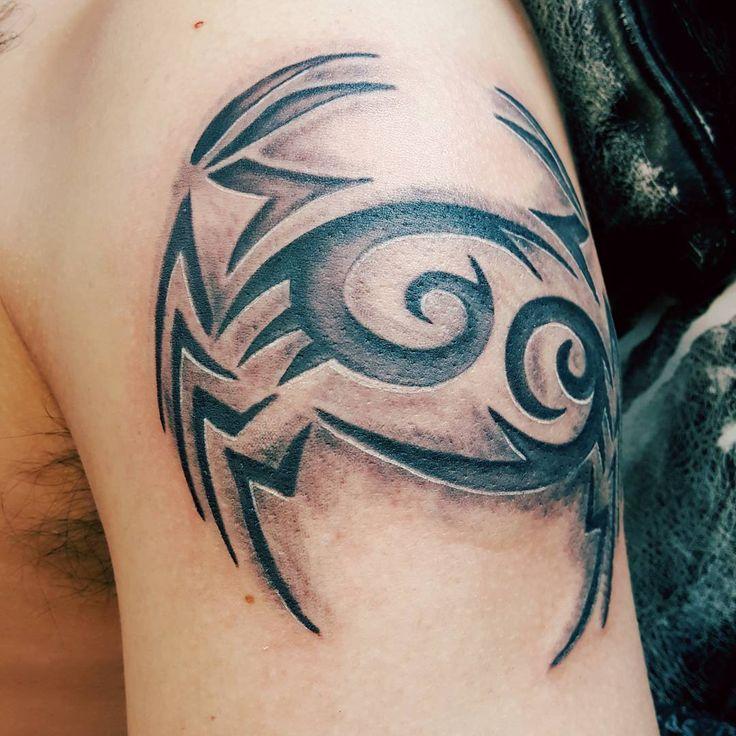 Aztec Crab Tattoo On Upper Arm