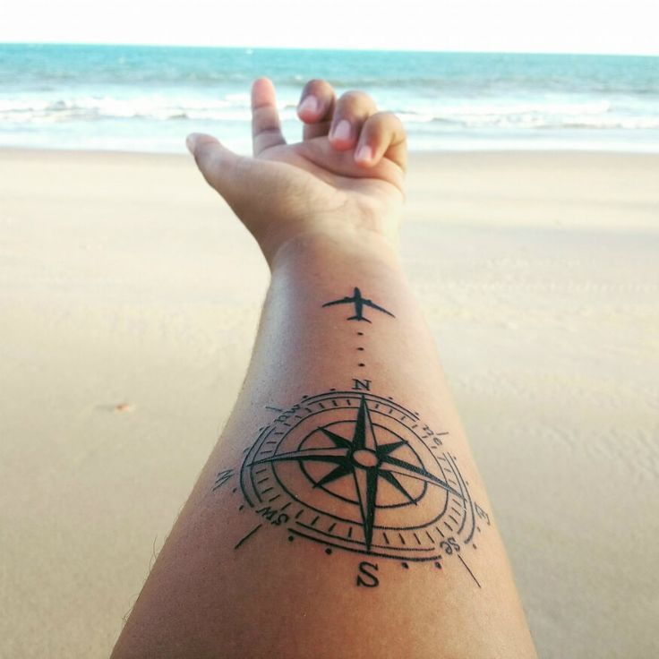101 Best Foot Tattoo Designs And Ideas With Significant: Black Compass With Airplane