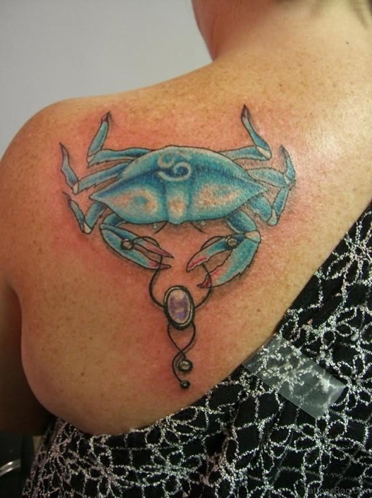 Blue Crab With Bracelet Tattoo On back