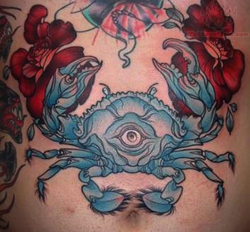 Blue Crab With Flowers Tattoo Design