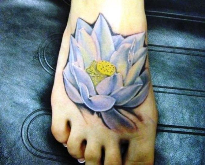 Blue Lotus Tattoo On Foot