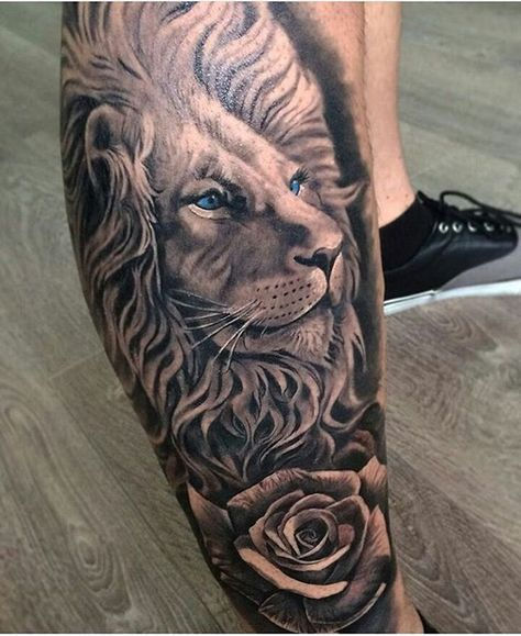 blue eyed realistic lion and flower tattoo. Black Bedroom Furniture Sets. Home Design Ideas