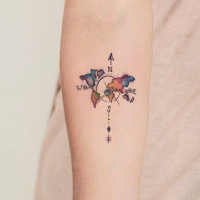 Colorful Map Amp Compass Composition Travel Tattoo On Forearm