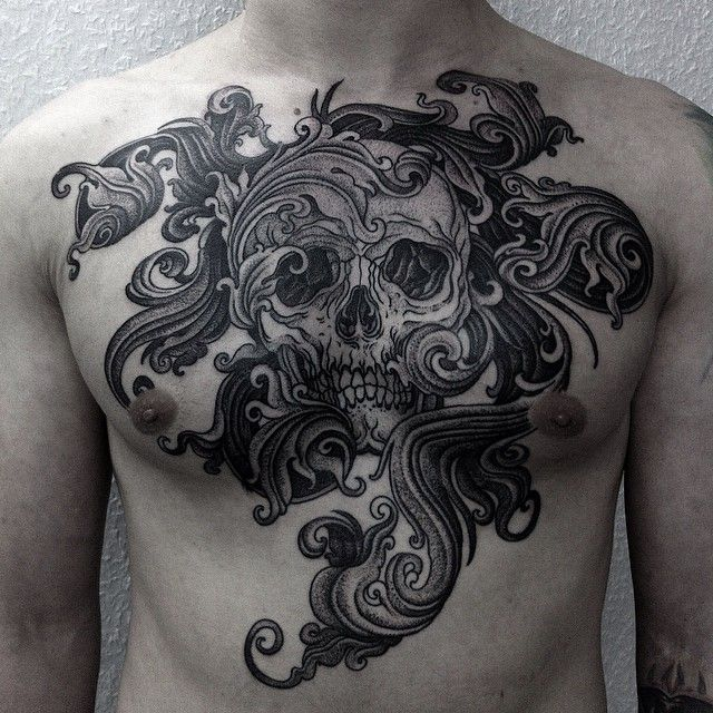 465eb321ccf7e Cool Skull With Waves Tattoos On Chest For Men