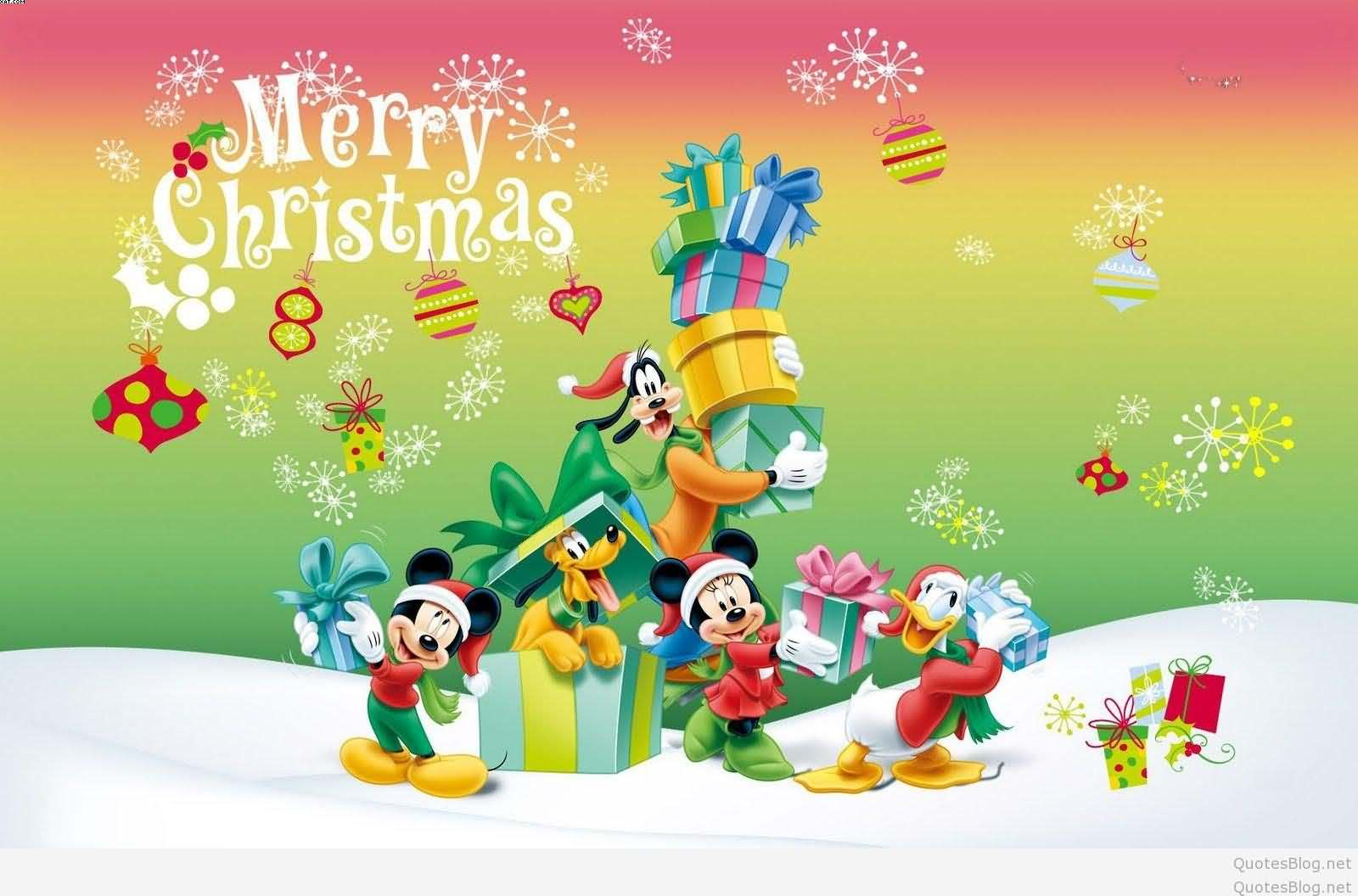 Cute Merry Christmas wishes from disney wallpaper