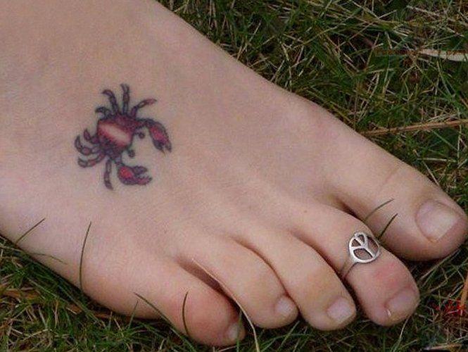 Cute Tiny Crab Tattoo On Foot