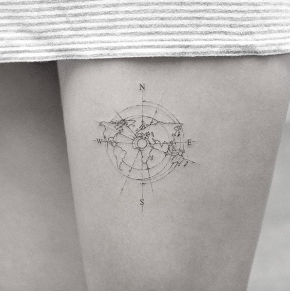 101 best travel tattoo designs and ideas delicate compass with world map tattoo on thigh gumiabroncs Choice Image