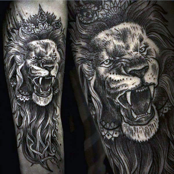 detailed lion tattoo for men