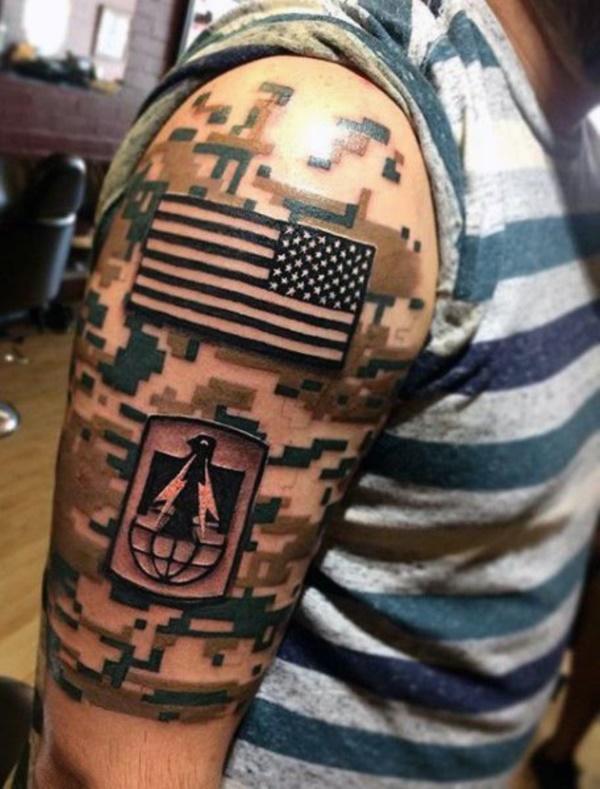 digital camo and us flag tattoo on half sleeve - Tattoo Design Ideas