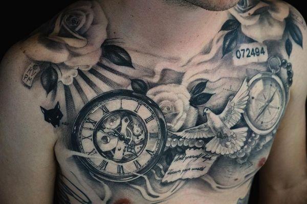 Distinctive Compass, Clock & Dove Chest Tattoo For