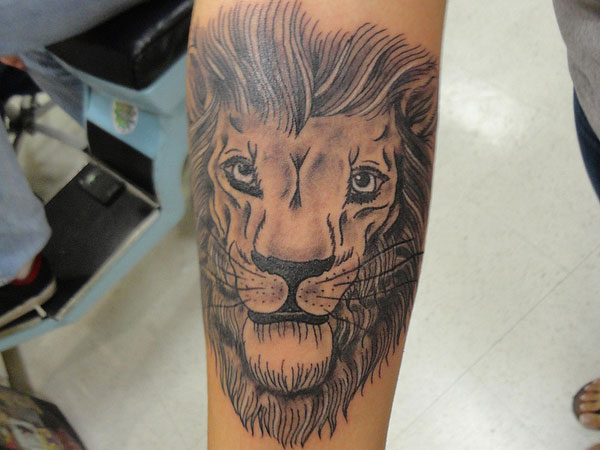 drawing lion tattoo on forearm. Black Bedroom Furniture Sets. Home Design Ideas