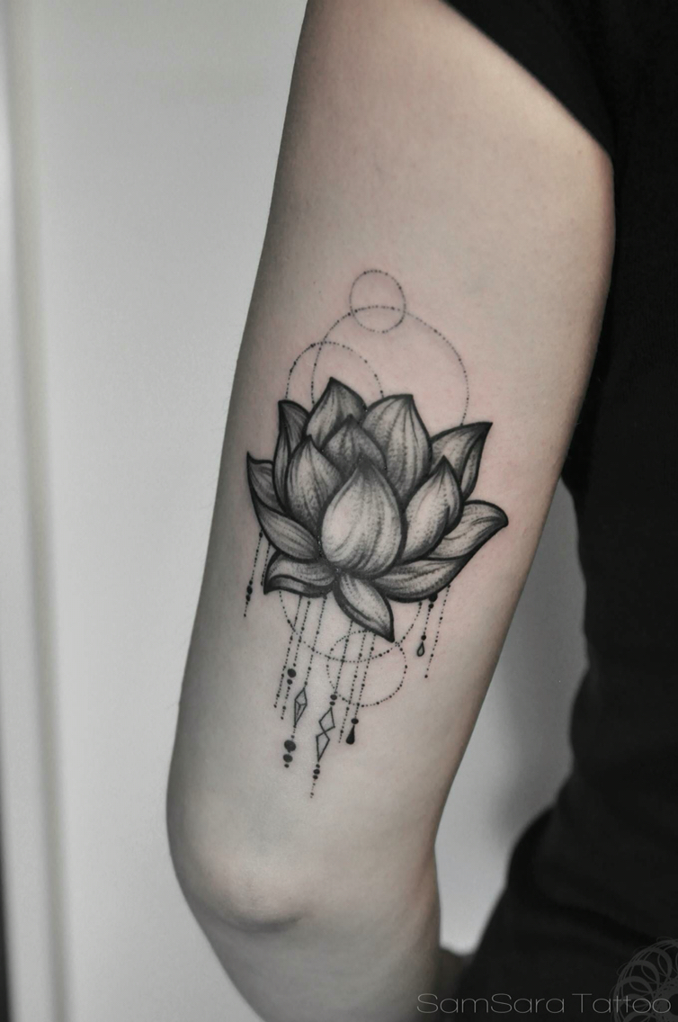 Dreamcatcher lotus flower tattoo on elbow izmirmasajfo Choice Image