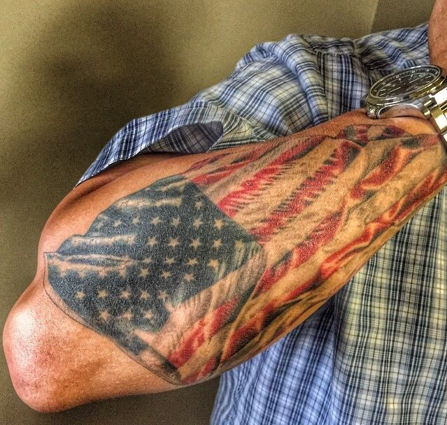 faded american flag tattoo on forearm. Black Bedroom Furniture Sets. Home Design Ideas