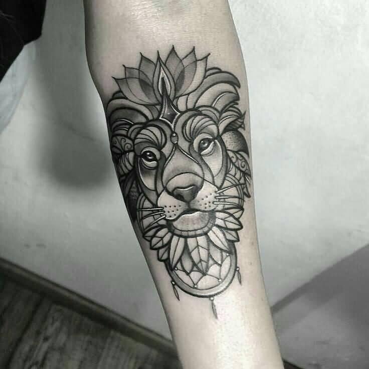 feminine lion tattoo on forearm. Black Bedroom Furniture Sets. Home Design Ideas