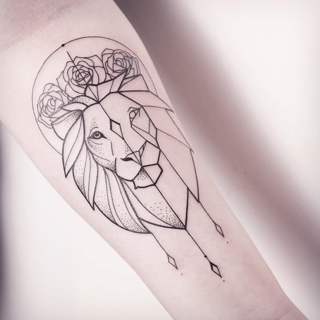 feminine outline lion tattoo on forearm. Black Bedroom Furniture Sets. Home Design Ideas