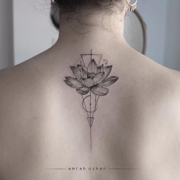 geometric lotus tattoo on back. Black Bedroom Furniture Sets. Home Design Ideas