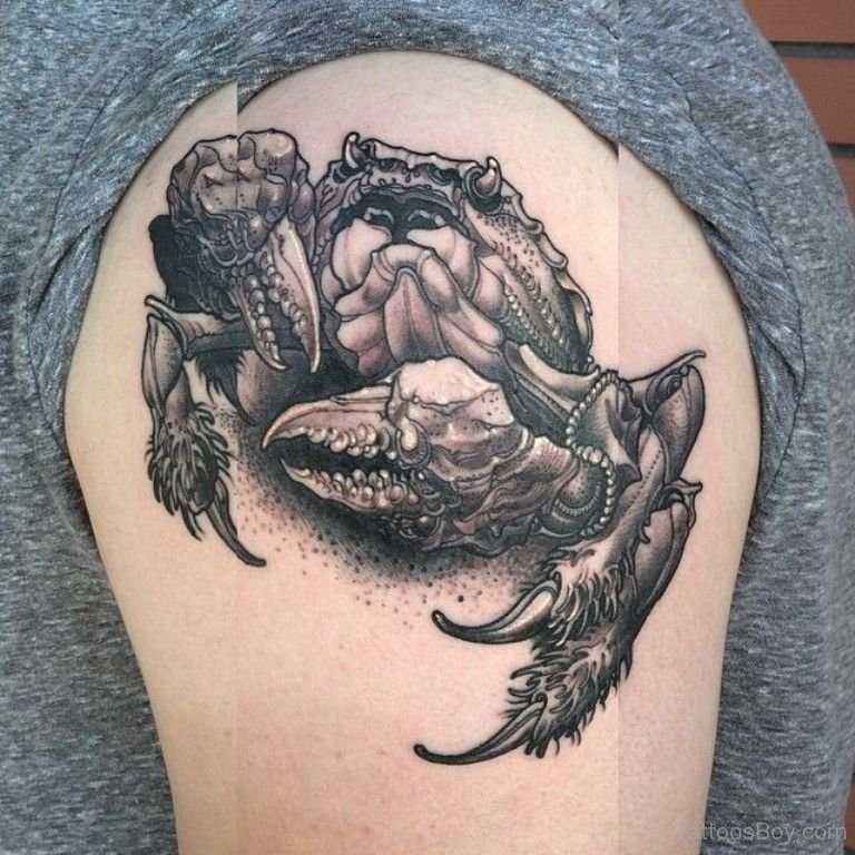 Gray Ink Crab Tattoo On Shoulder
