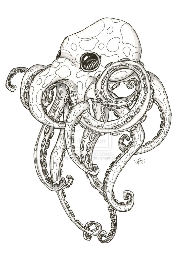 Realistic octopus design images for Realistic octopus coloring page