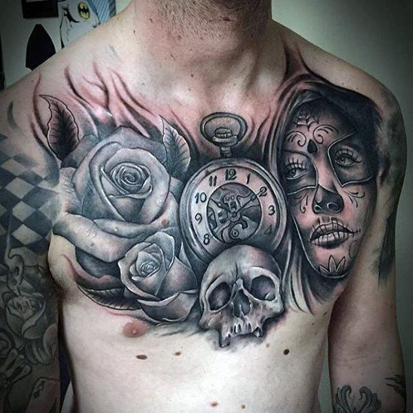 Skull Chest Tattoo Female: Grey Ink Rose, Time Piece, Skull, And Day Of The Dead Lady
