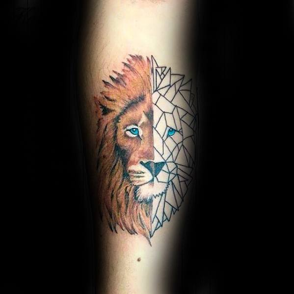 Half Geometric Lion Tattoo Design Idea For Men