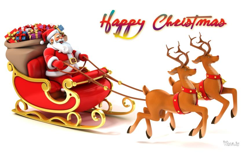 merry christmas 2017 greetings with santa claus hd image