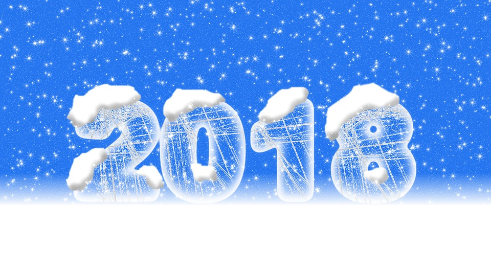 happy new year 2018 covered with snow