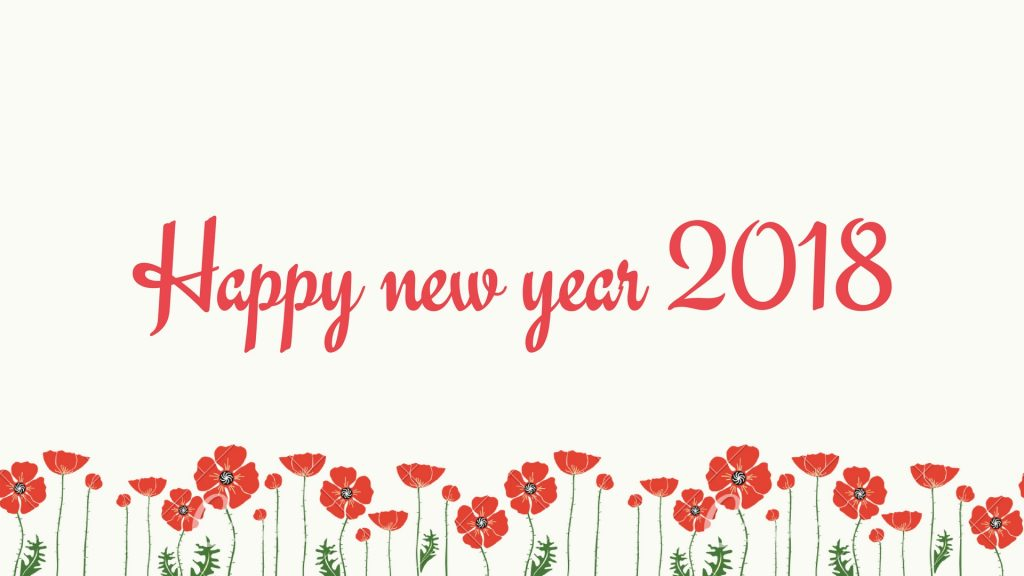 Happy New Year 2018 Flowers Greeting Card