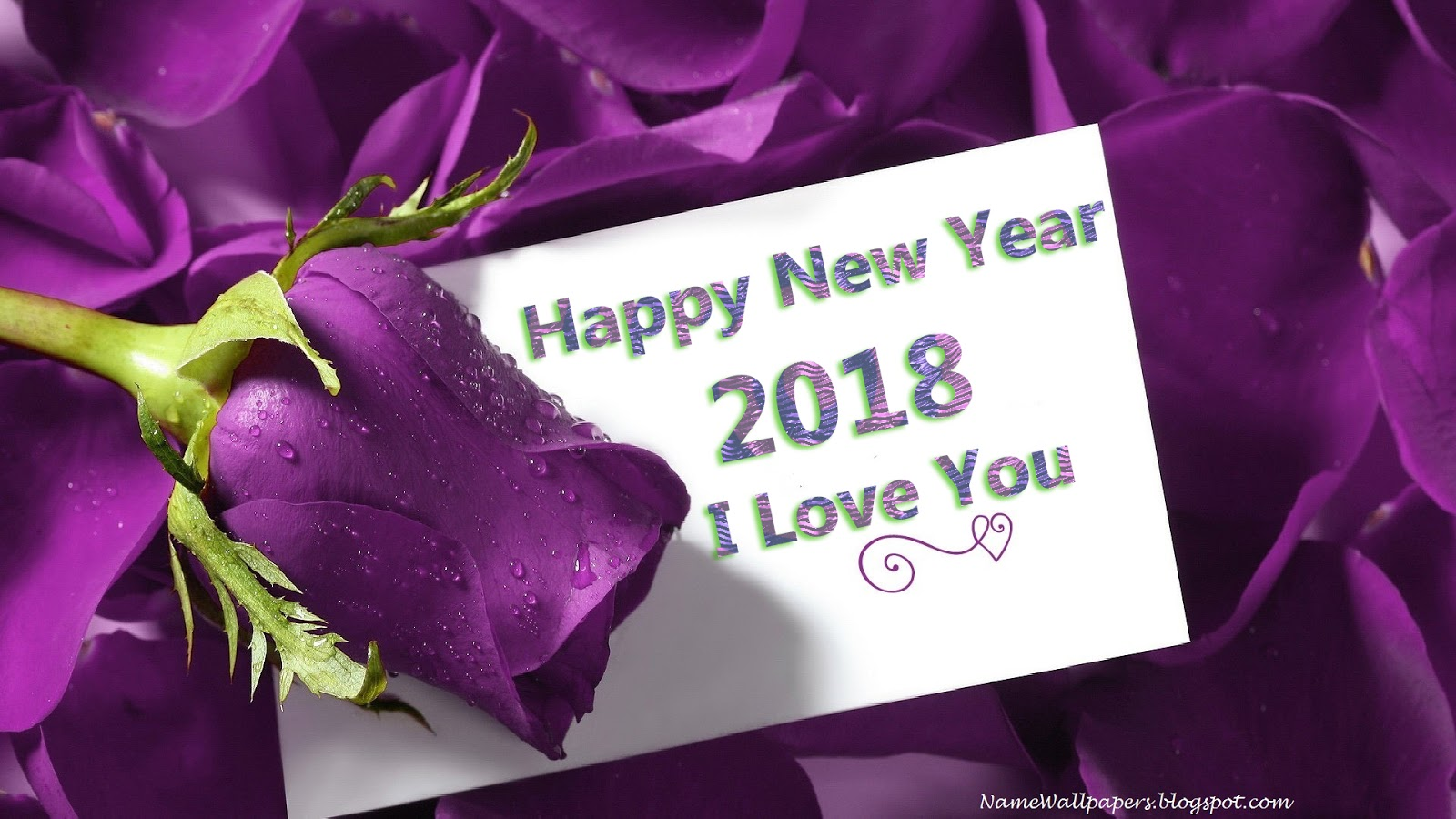 happy new year 2018 i love you card with purple rose flower