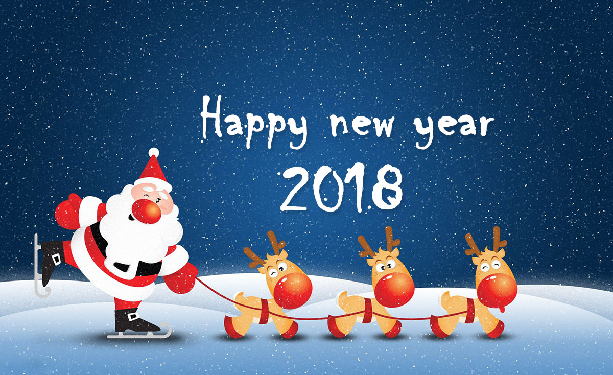 happy new year 2018 santa claus with reindeers