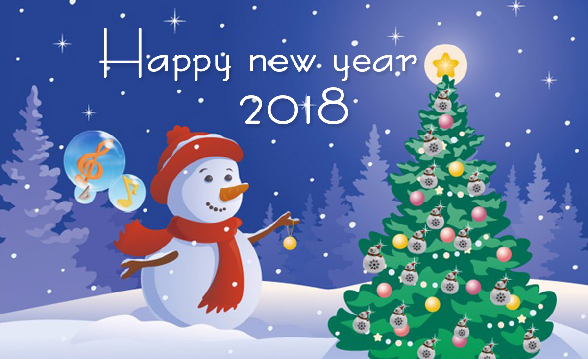 happy new year 2018 snowman and christmas tree