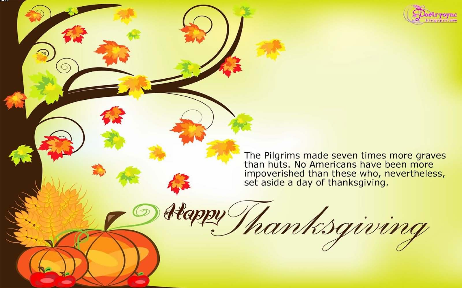 Happy Thanksgiving Autumn Tree Graphic Picture