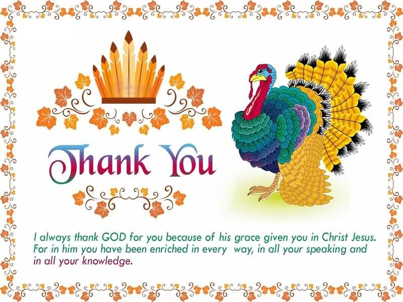 Happy thanksgiving day thank you turkey greeting card m4hsunfo